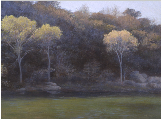 "Three Trees Aglow, Santa Ynez River  9 x 12""  oil on panel  2006"