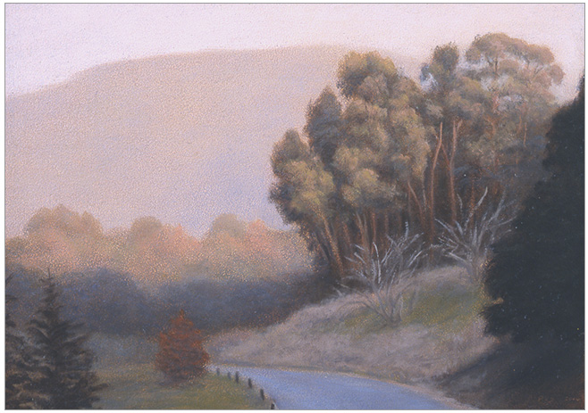 "Sunlit Eucalyptus  5 x 7""  oil on panel  2006"
