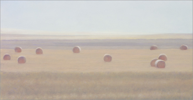 "Round Bales 6 A.M.   5.25 x 10""  oil on panel  2010"
