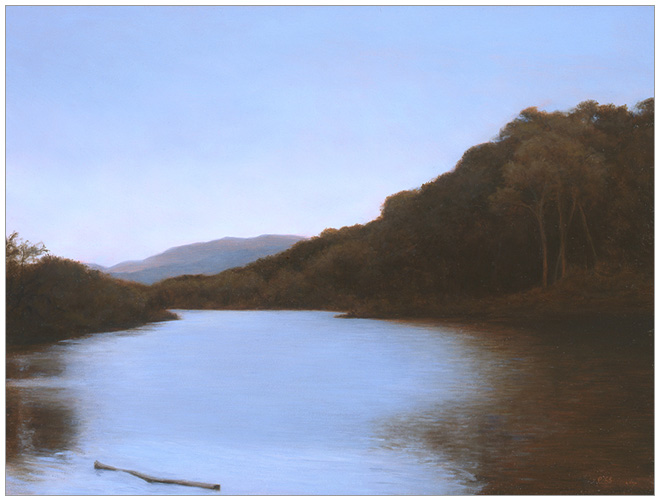 "Late Afternoon, Santa Ynez River  9 x 12""  oil on panel  2006"