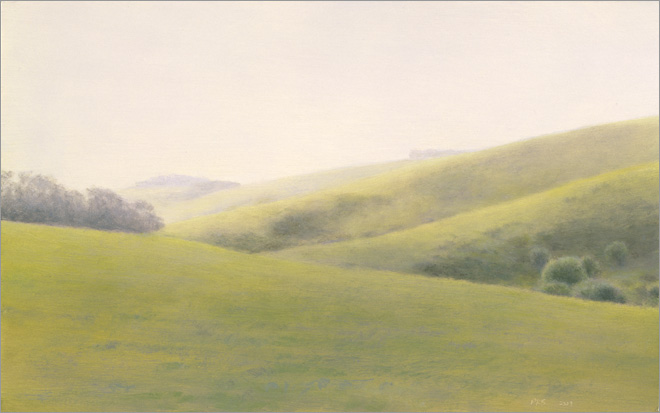 "Green Hills, Hollister  5 x 8""  oil on panel  2009"