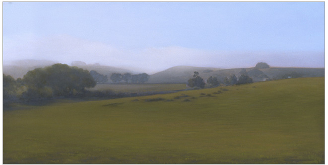 "Green Pasture, Bixby Ranch  15 x 30""  oil on canvas  2004"