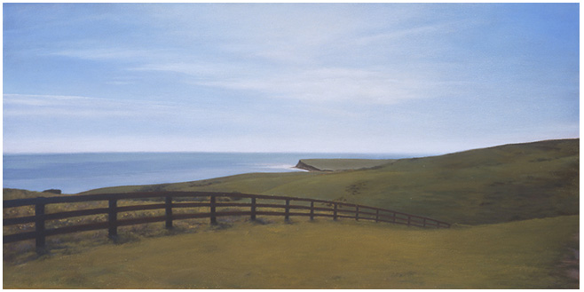 "Fenceline at Hollister  12 x 24""  oil on canvas  2002"