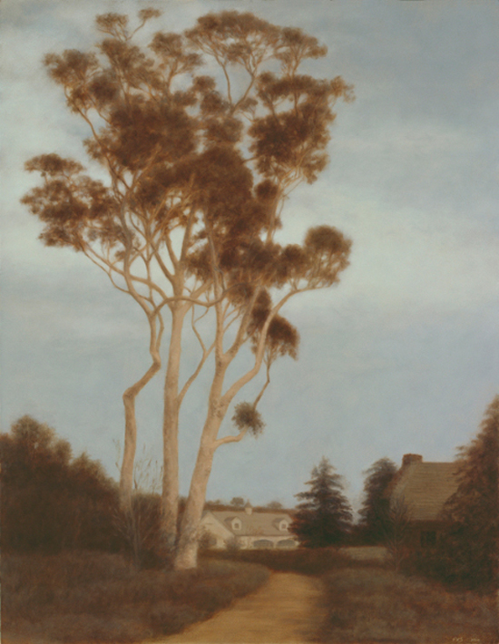 "Eucalyptus Trees, Gabler Estate  18 x 14""  oil on panel  2010"