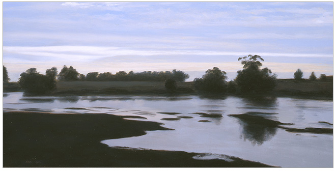"Devereux Slough at Sunset  8 x 16""  oil on panel  2006"