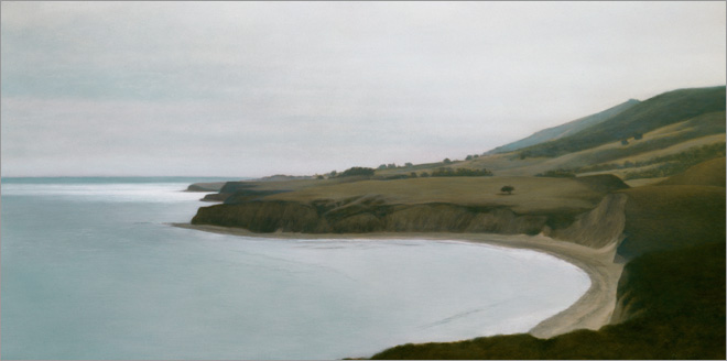 "Drakes Bay  10 x 20""  oil on panel  2009"