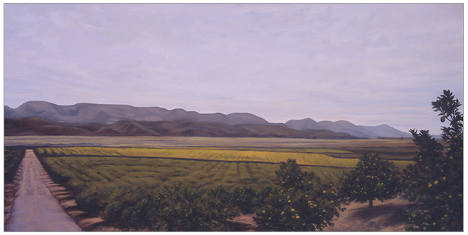 "East of Fillmore  12 x 24""  oil on canvas  2001"
