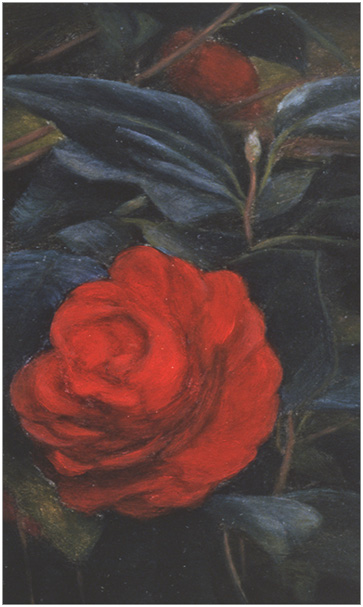 "Red Camelia in Shadow  5 x 3""  oil on panel  2004"