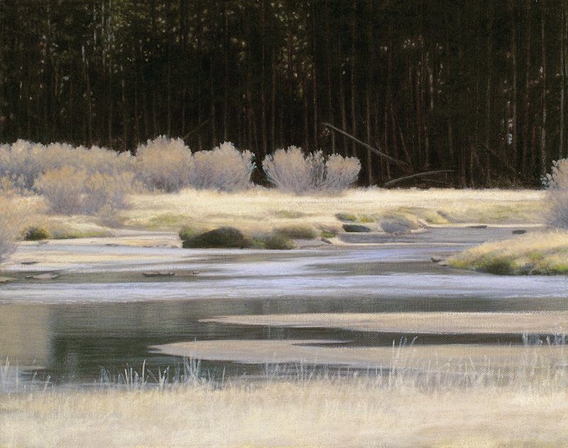 "Tuolumne River, October 11 x 14"" oil on linen 2012"