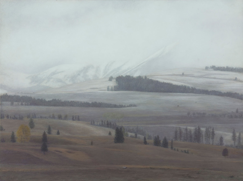 "First Snowfall, Electric Peak 12 x 16"" oil on panel 2015"