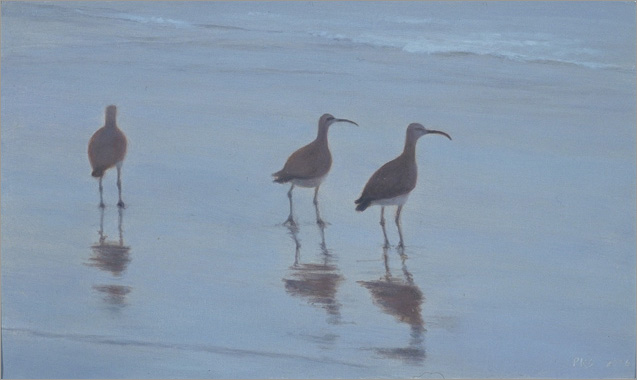 "Three at Miramar  3 x 5""  oil on panel  2006"