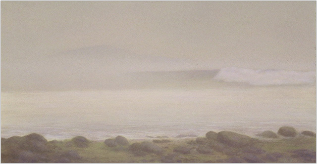 "Morning Fog, Miramar Beach  5 x 10.5""  oil on panel  2007"