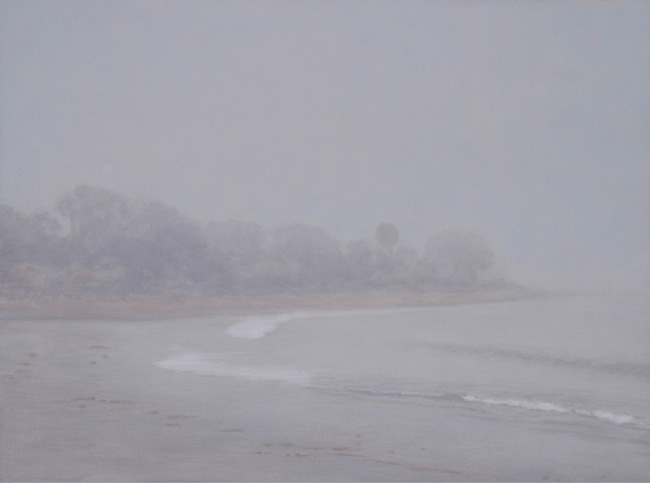"Fog, Miramar Beach  9 x 12""  oil on panel  2011"