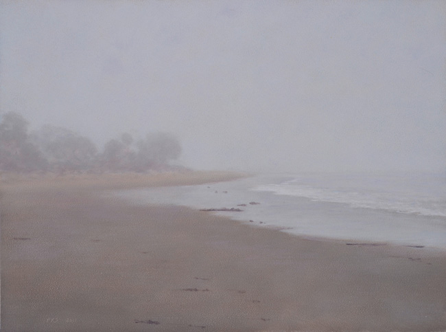 "Fog, Miramar Beach #2  9 x 12""  oil on panel  2011"