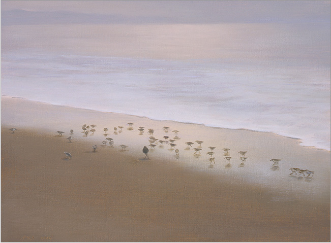 "Pink-Grey Morning, Miramar  6 x 8""  oil on panel  2004"