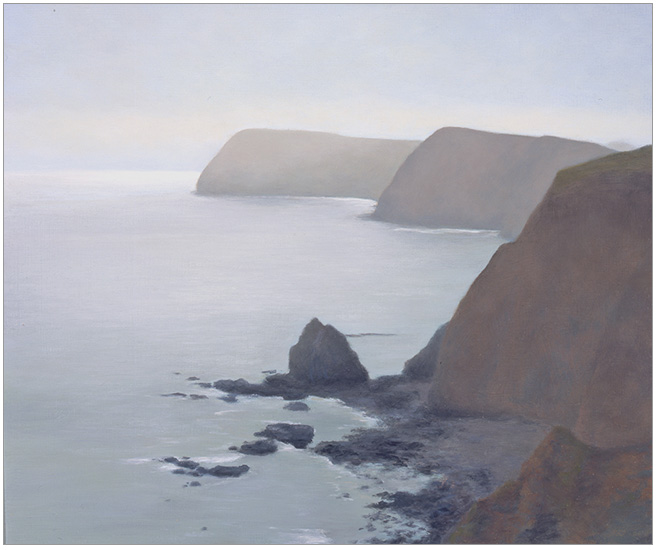 "Silver-grey Fog at Anacapa  10 x 12""  oil on panel  2006"