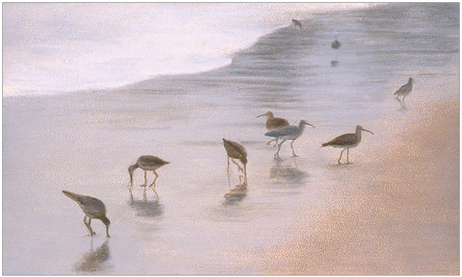 "Shorebirds on a Foggy Day  3 x 5""  oil on panel  2004"