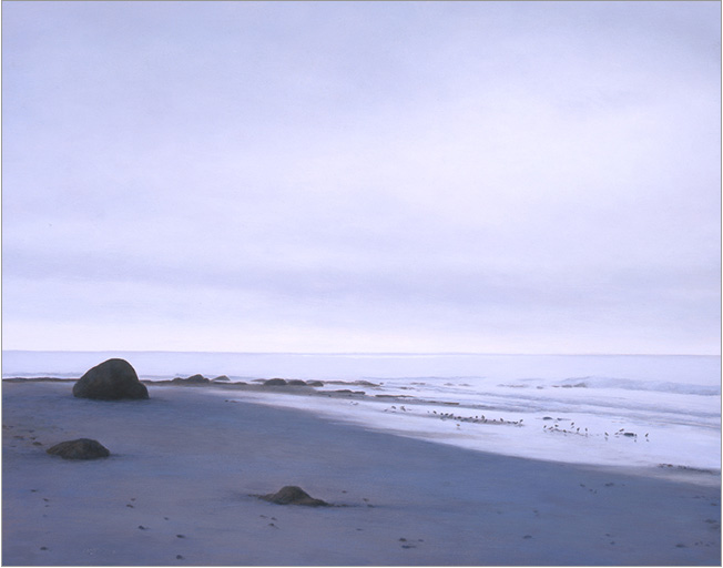 "Low Tide in Winter, Devereux  11 x 14""  oil on panel  2006"