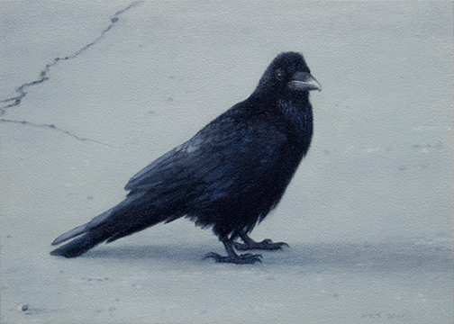 "I Talk to Ravens 5x7"" oil on panel  2017"