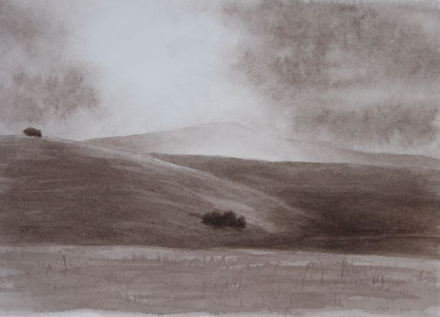 "Hills and Clouds, Cuyama 5x10"" watercolor 2006"
