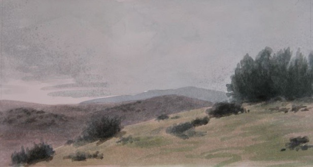 "Hilltop, Cuyama 5x10"" watercolor 2006"