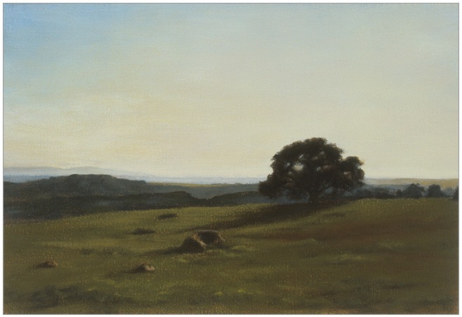 Flaxen Light, San Marcos Foothills 7x10 oil on paper 2002