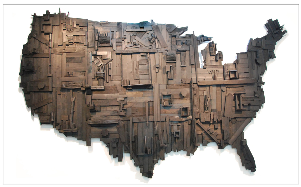 "My Big Black America  16ft. x 10ft. x 14""  stain, spray paint, latex, salvaged wood  2015"