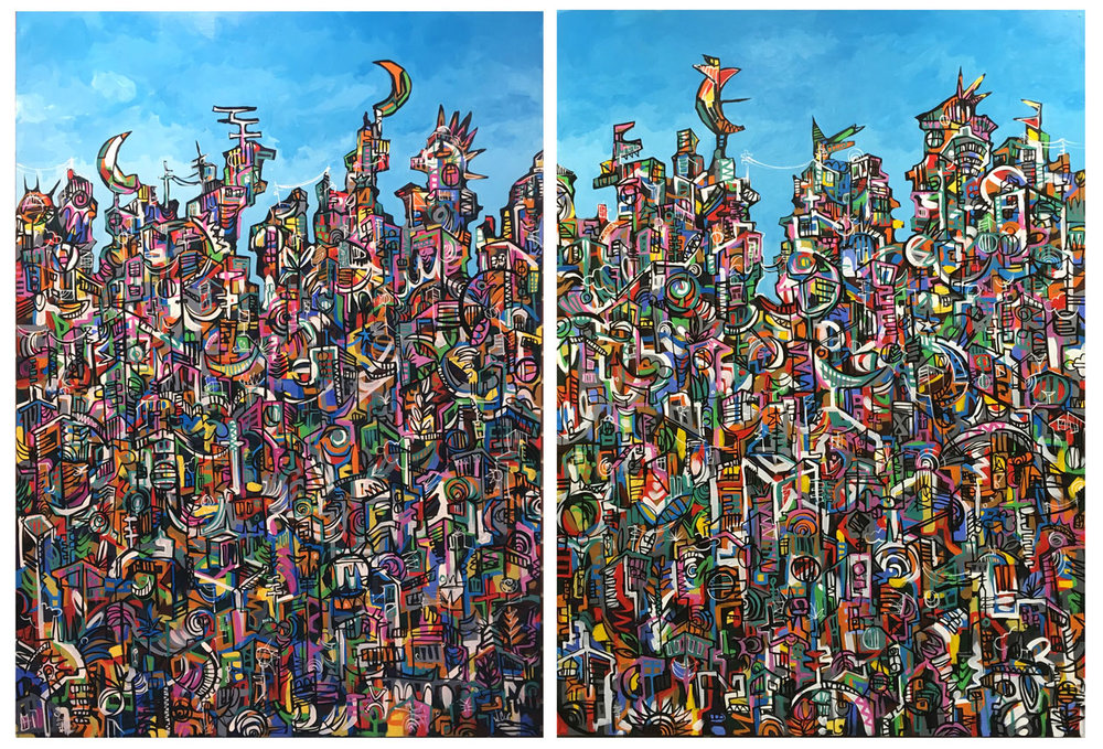"CityView VII (diptych)  96"" x 84""  Acrylic on MDF  2017  @ Kenilworth Recreation Center, Washington, DC"