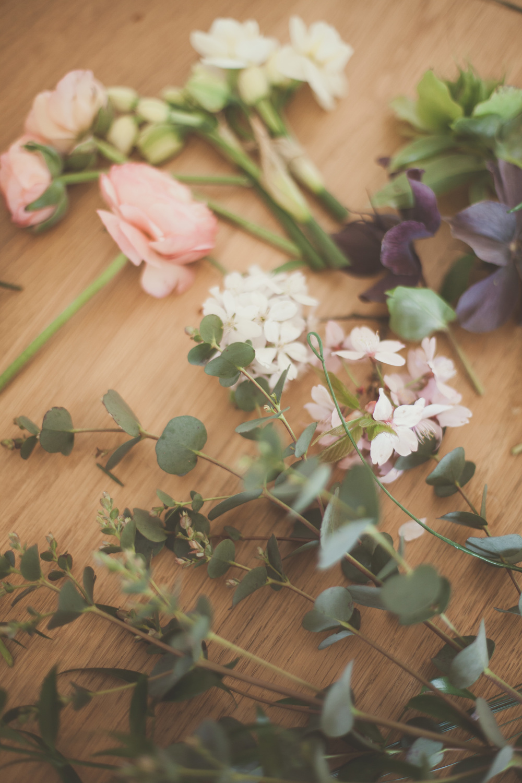 Eucalyptus, hellebores, cherry blossom, ranunculus, narcissi