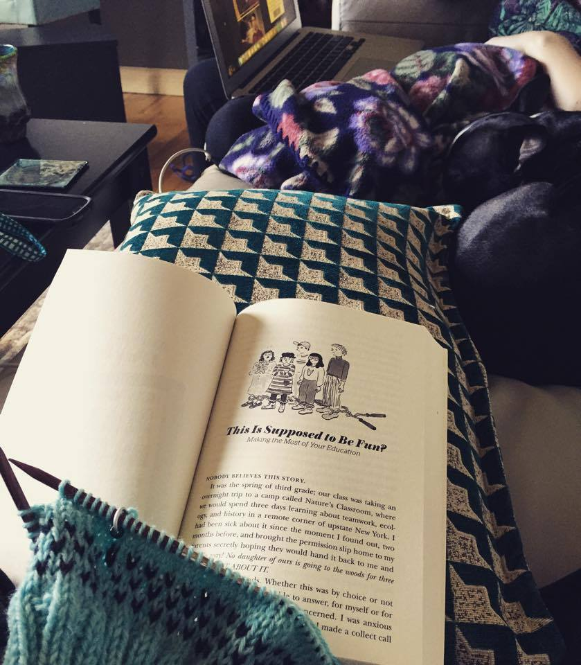 Natasha trying to do 'all the things' on her day off: Knitting, catching up on reading for her book-club, dog snuggles, quality sister in law time and relaxing!