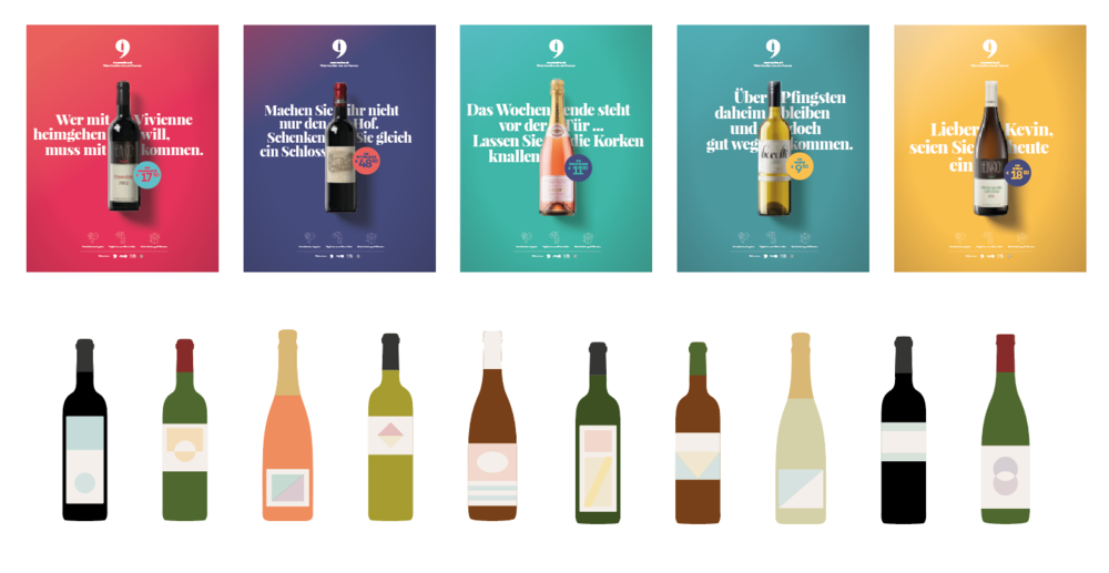 from the corporate design and the client's ads to the main forms of bottles for the tv ad