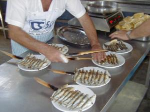 Espetos of sardines