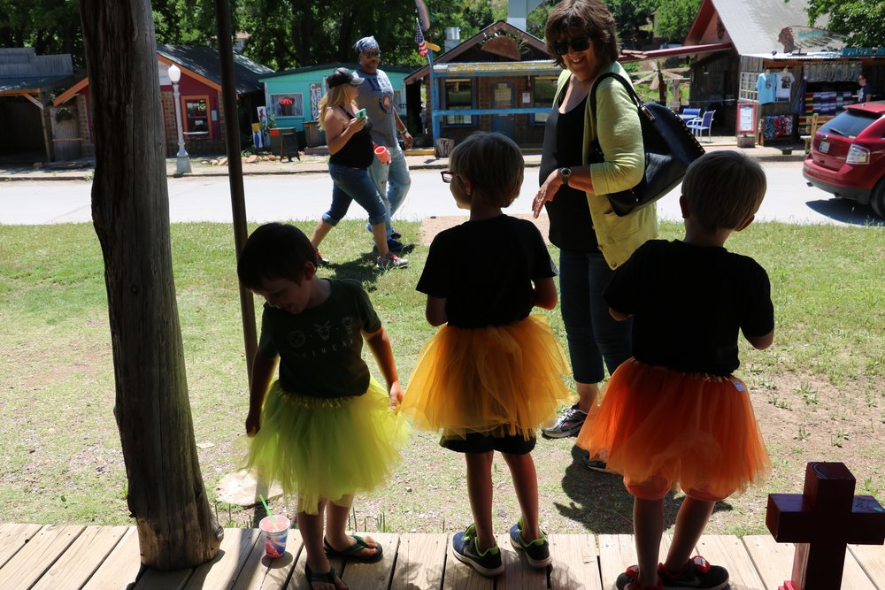 Three boys in tutus, my mom and some strange looks.