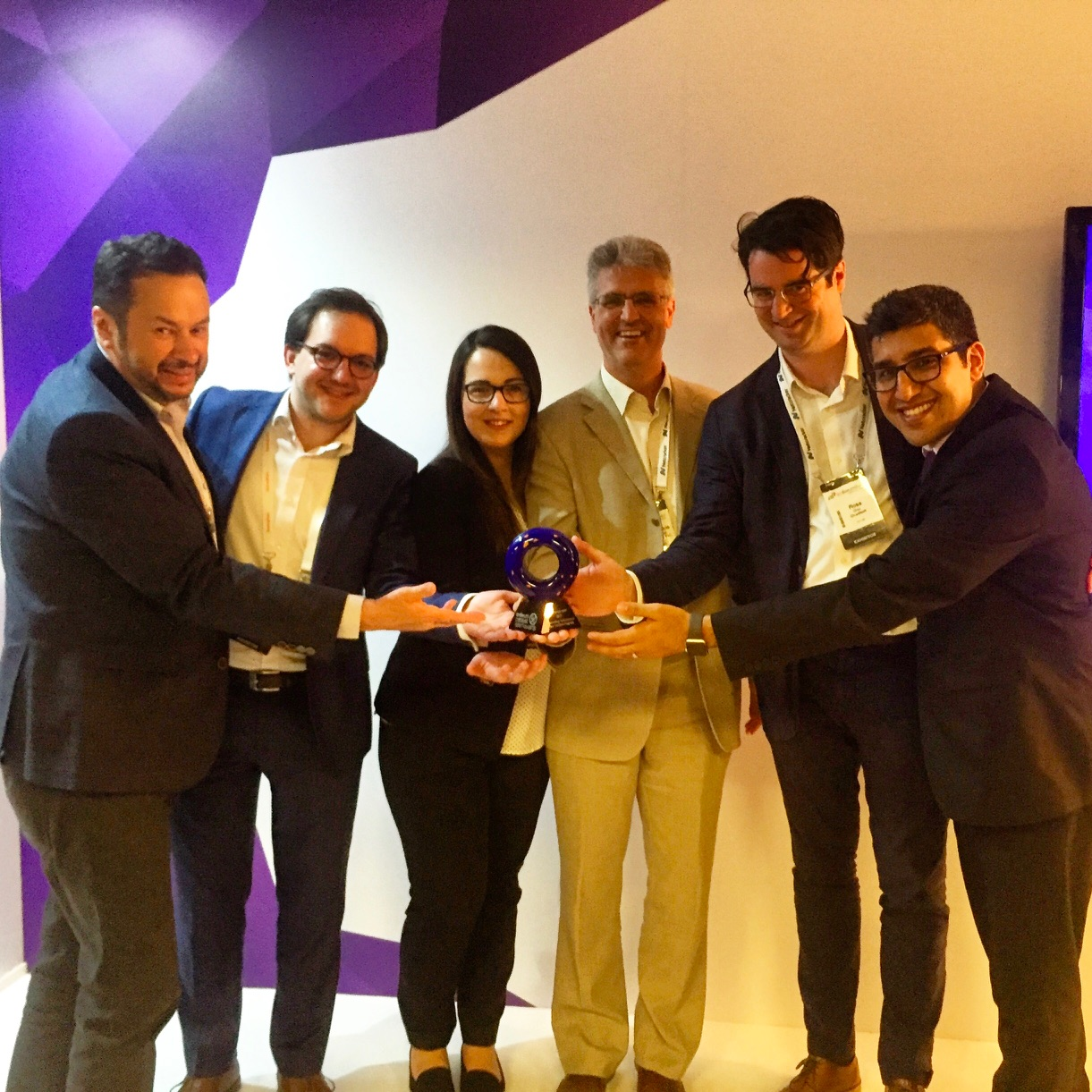 Some of the winning team (pictured from left to right): Simon Beddus (BT), Nico Müller (Bearing Point), Claudia Cristina (BT), Ross Gray (Cloudsoft) and Mohammad Zoualfaghari (BT).