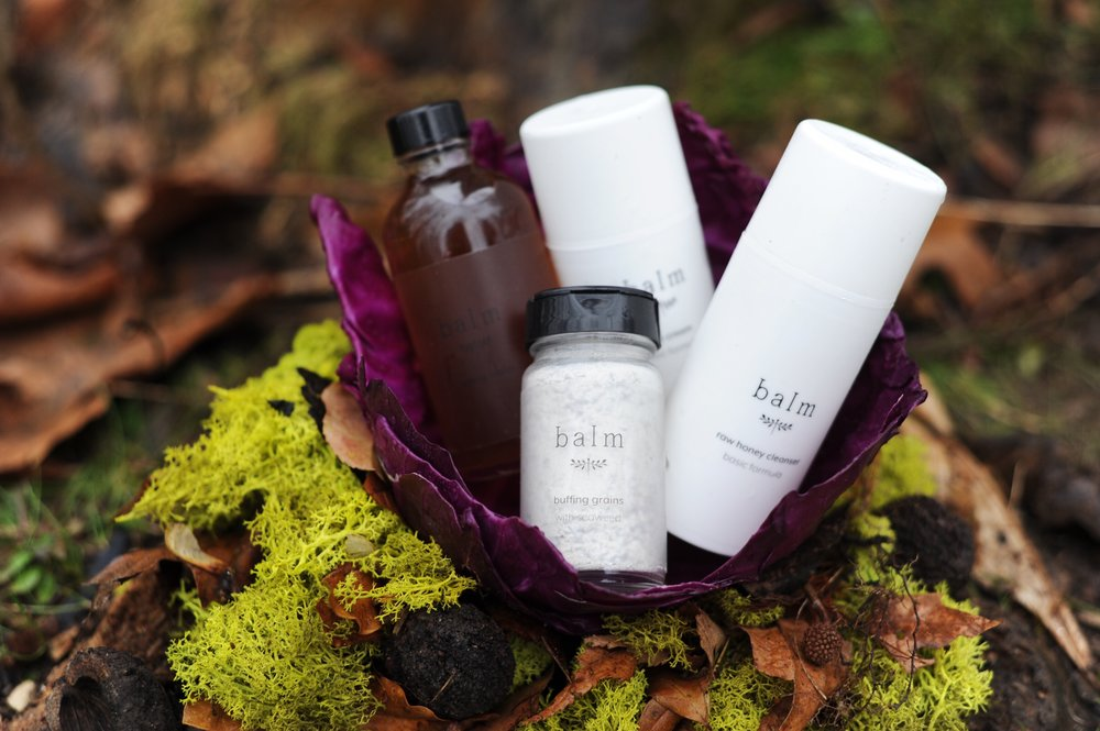 This is the best way to start the raw skin movement hands down! We've wrapped up the essentials to go raw, into this awesome  Starter Set . The set includes Raw Honey Cleanser, our lovely Buffing Grains, our Toning Water, and Face Cream. Depending on which skin type, we might swap out a different variation but these are the basics (and our basics are golden)! Going raw can be a little overwhelming, so we wanted to make it as simple as possible. We've also broken it down for each different skin types (basic, oil, & dry), as we wanted to be able to cater to skin type. Come see what going raw looks like, and we hope our dreams and values here at Balm bring you the support you need to reach yours!