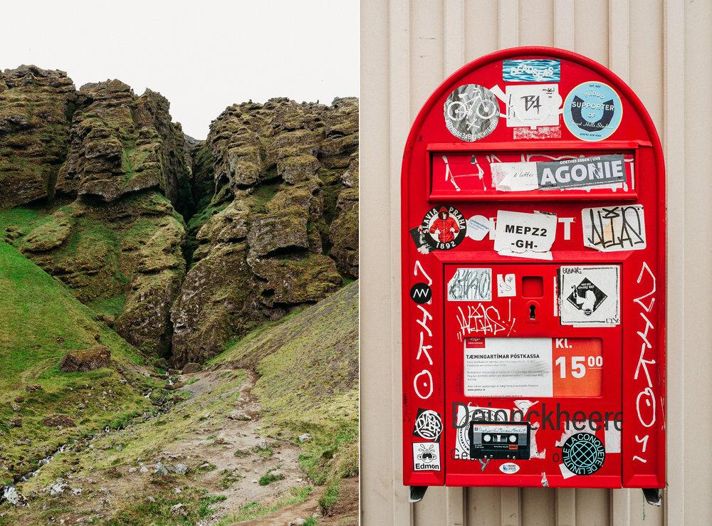 Left: Rauðfeldsgjá Gorge, Right: Reykjavik, Iceland