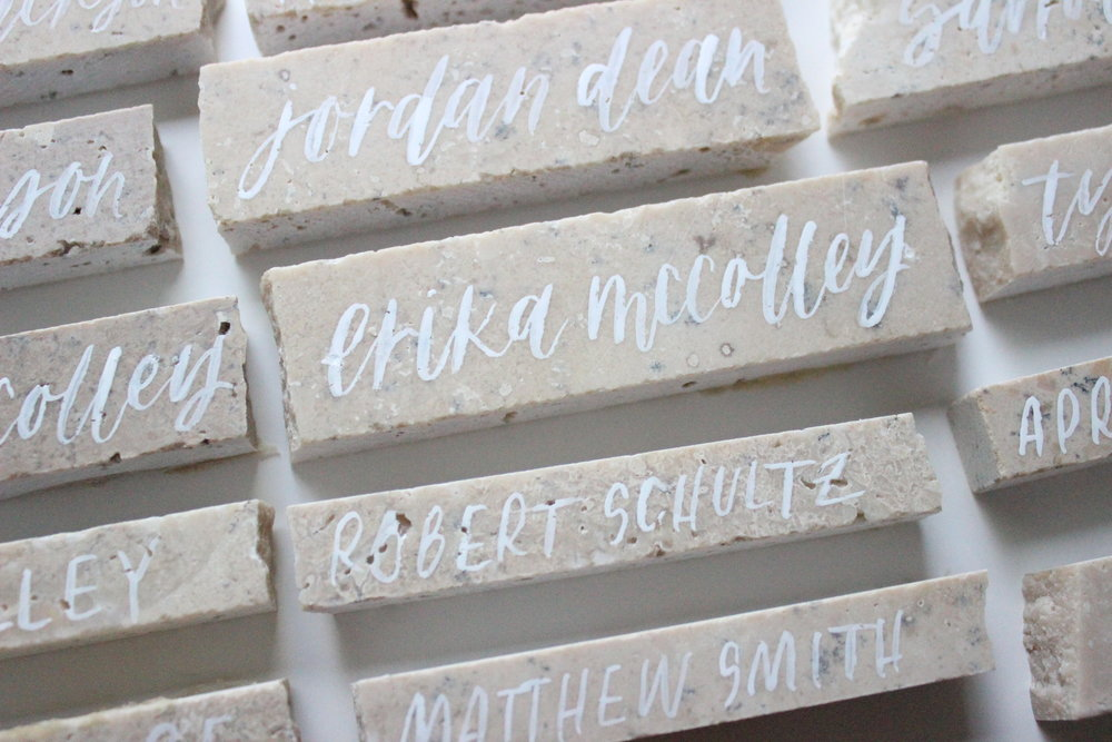 Miranda Writes: Modern Calligraphy + Hand Lettering | Wedding Place Card Tiles