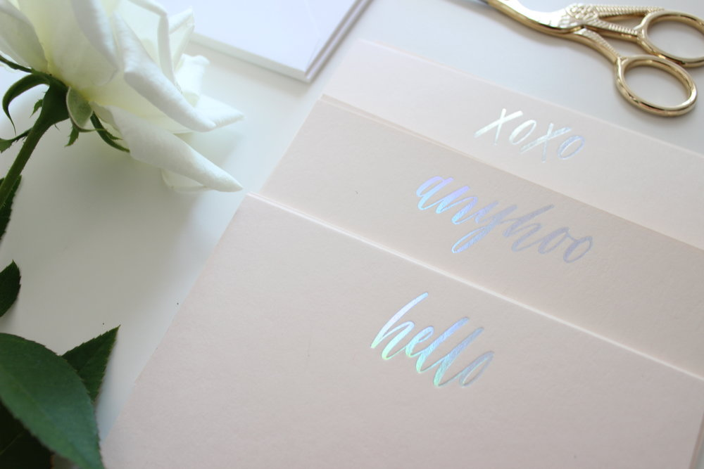 Miranda Writes | Holographic Calligraphy Notecards