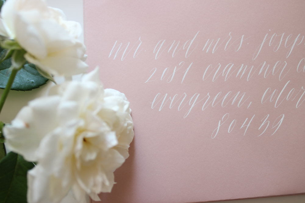 Miranda Writes | White Calligraphy on Cipria Envelopes