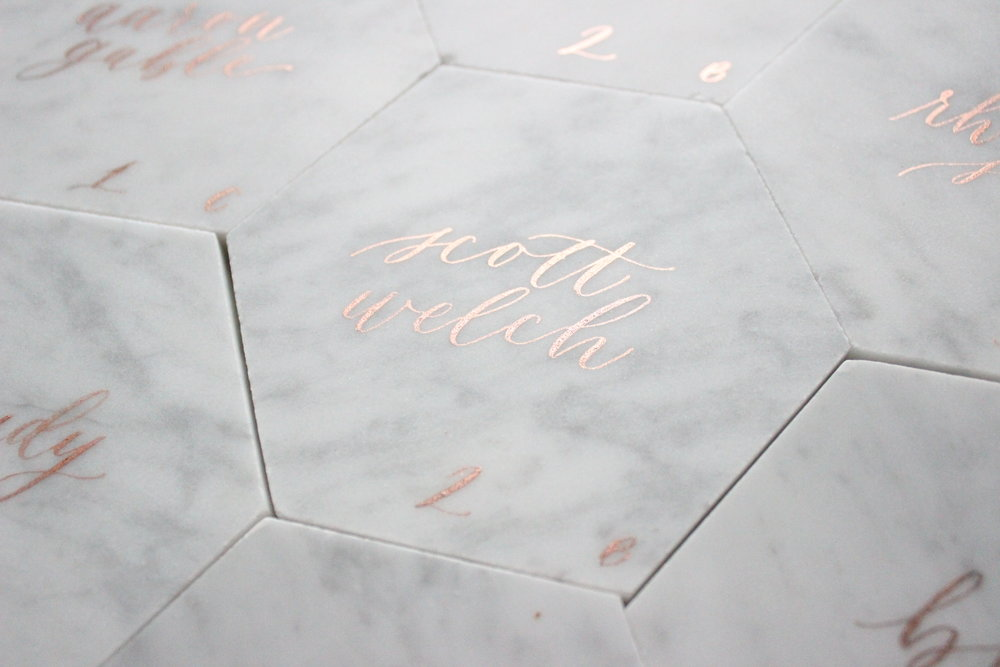 Miranda Writes | Modern Calligraphy on Marble Tile Place Cards