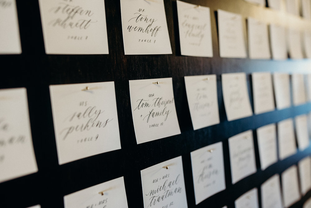 Miranda Writes | Calligraphy + Wedding Paper | Escort Display