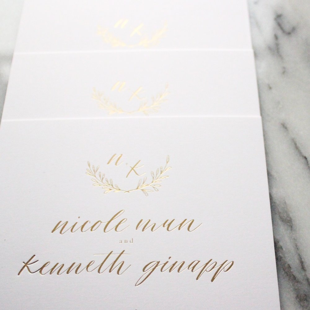 Miranda Writes | Gold Foil Wedding Invitations