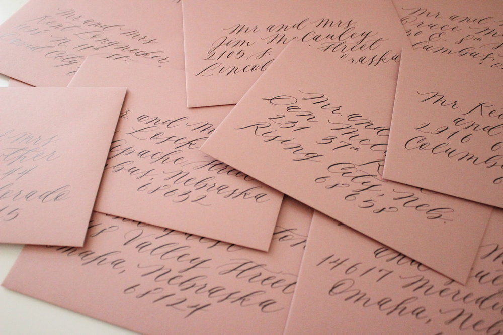 Miranda Writes is a calligraphy and wedding invitation design studio in Omaha, Nebraska by Miranda Griffiths.