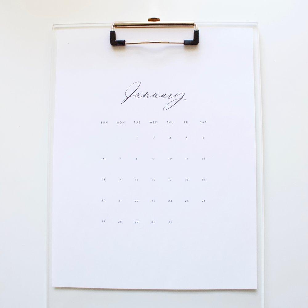 2019 Free Calendar by Miranda Writes