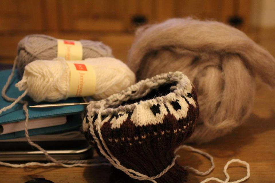 Working on the Baa-ble hat while I was at Shetland Wool Week