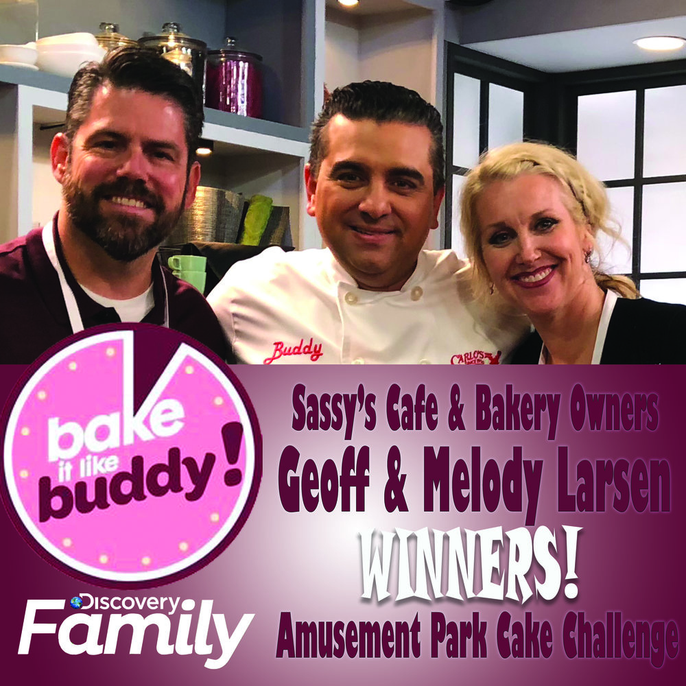 "Bake it Like Buddy—Series Premier ""Theme Park Cake Challenge Winners"" Geoff & Melody Larsen with Buddy Valastro ""The Cake Boss"""