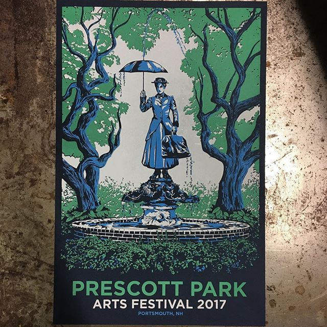 Screen printed these posters by hand for @prescottparkartsfest on @frenchpaperco paper. The beautiful art work is by @mattrobot Tags: #screenprint #screenprinter #screenprinting #poster #flatstock #marypoppins #limitededition #design #handmade #ink #printmaking #illustration #portsmouthnh #portsmouth #portsmouthlove #lovetheseacoast #kitteryme #kitterymaine #prescottparkartsfest #prescottpark #dovernh #newmarketnh #durhamnh #rochesternh #barringtonnh #sommersworthnh #posters #posterdesign #newengland