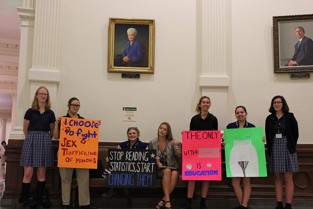Eleanor (third from left) testified in support of Texas Senate Bill 2039. Photo by Becca Alonso.
