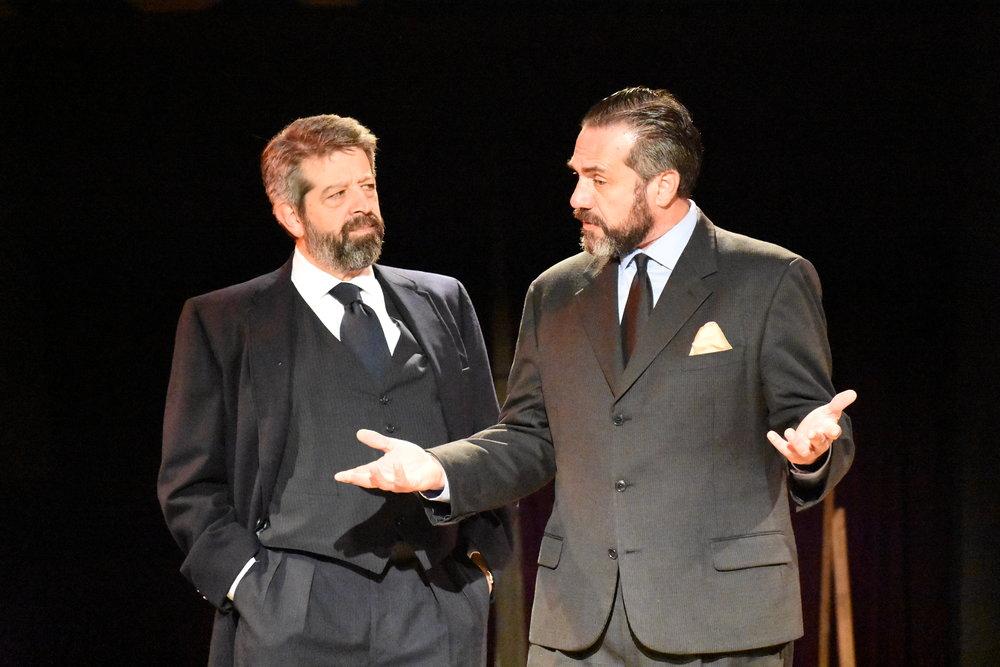 Rolf Saxon (Claudius) and Dov Hassan (Polonius) in  Hamlet , 2018.