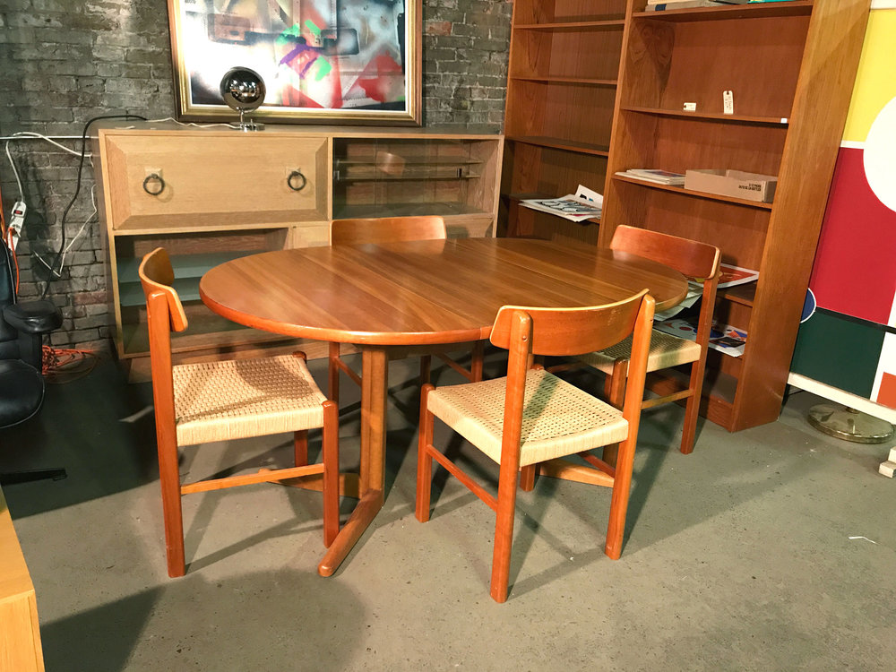 Teak Dining Table With Trestle Base And One Extension Leaf 4 Cane Seat Chairs In 41W X 1 195 295H 17seat W